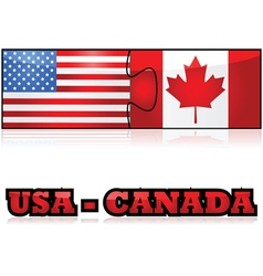 United States and Canada puzzle vector image