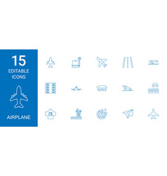 15 airplane icons vector image