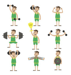 A set exercises with dumbbells vector