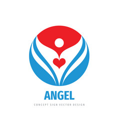 angel love red heart logo design human character vector image