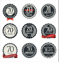 Anniversary retro badge collection 70 years vector