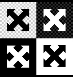 arrows in four directions icon isolated on black vector image