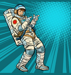 astronaut young man points vector image