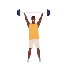 Athletic man in sportswear lifts heavy barbell to vector