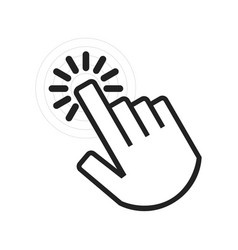 Black active angled clicking hand icon on white vector