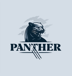 black aggressive panther bared its teeth vector image