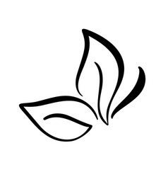 Black ink hand drawn calligraphy logo of leaf in vector