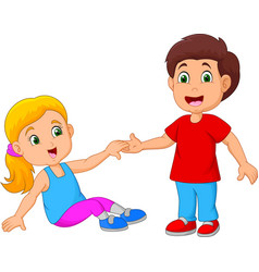 boy helping a girl stand up vector image