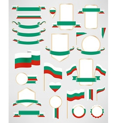 Bulgaria flag decoration elements vector