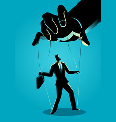 Businessman being controlled puppet master vector