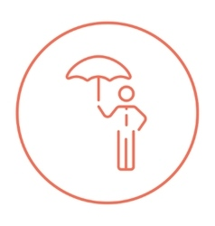 Businessman with umbrella line icon vector image