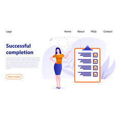 businesswoman checking task success completed vector image