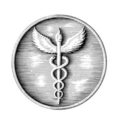 caduceus logo hand drawing in coin style vintage vector image