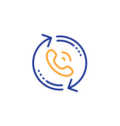 Call center service line icon recall support sign vector