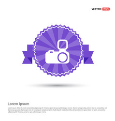 camera icon - purple ribbon banner vector image