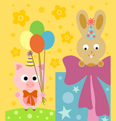 cartoon background with funny pig and rabbit vector image