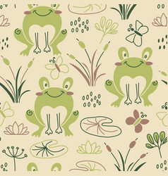 cartoon frog seamless pattern vector image