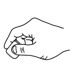 Close up hand using rubber eraser vector