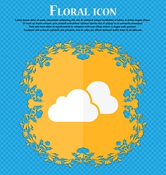 clouds icon Floral flat design on a blue abstract vector image