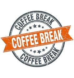 Coffee break round orange grungy vintage isolated vector
