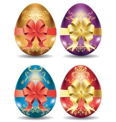 Colorful Eggs with Bows vector image