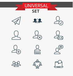 Communication icons set collection of ban team vector
