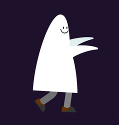Costume ghost for halloween guy in suit spook vector
