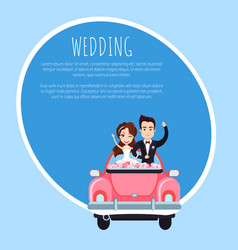 couple in holiday car wedding holiday vector image