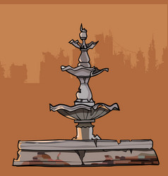 Crumbling old fountain with four bowls vector