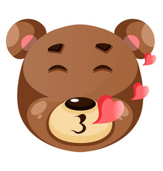 cute brown bear is in love on white background vector image