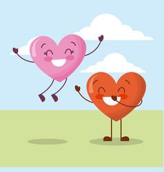 cute couple hearts love happy celebration vector image