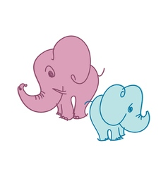 cute little elephant in pastel color vector image