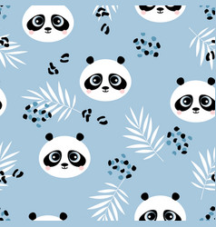 cute panda seamless pattern vector image