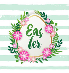 decorative easter egg and spring flowers vector image
