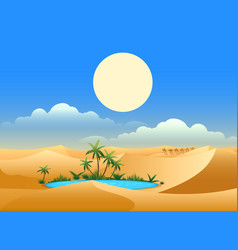 Desert oasis background vector