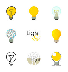 different creative lightbulb icons set vector image