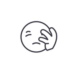 disapointed emoji concept line editable vector image
