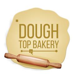 dough rolling pin top view preparing vector image