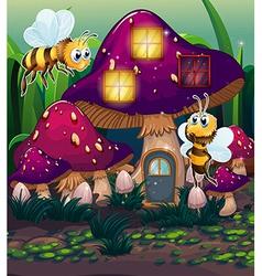 Dragonflies near the enchanted mushroom house vector image