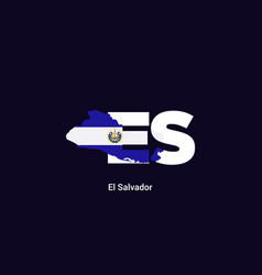 el salvador initial letter country with map and vector image