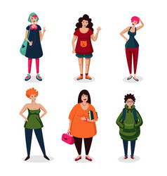 everyday women in casual weargirls cartoon vector image