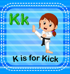 Flashcard letter k is for kick vector