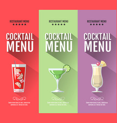 flat cocktail menu design set of banners vector image