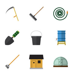 Flat icon garden set of stabling pail hothouse vector