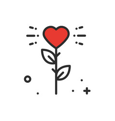 flower heart line icon love sign and symbol love vector image