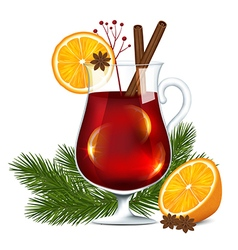 Glass of mulled wine vector