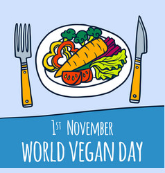 global vegan day concept background hand drawn vector image