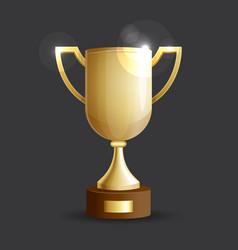 gold cup golden shining award vector image