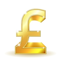 Gold sign pound currency vector