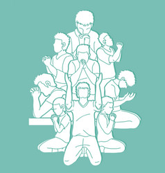 Group of prayer christian praying together vector